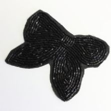 Vintage Black Beaded Bow Motif